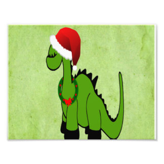 Green Dinosaur in a Santa Hat for Christmas Photographic Print
