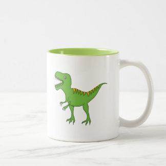 Green Dinosaur+Personalize Name Two-Tone Coffee Mug