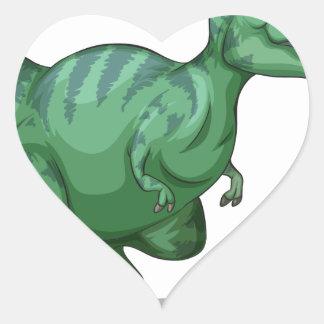 Green dinosaur standing alone on white heart sticker