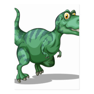 Green dinosaur standing alone on white postcard