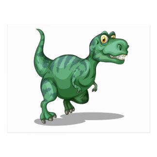 Green dinosaur standing alone on white postcard