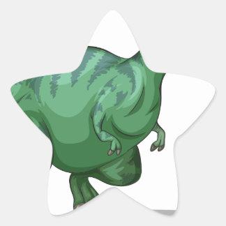 Green dinosaur standing alone on white star sticker