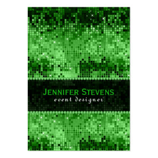 Green Disco Glitter & Sparkles Green Overtones Large Business Cards (Pack Of 100)