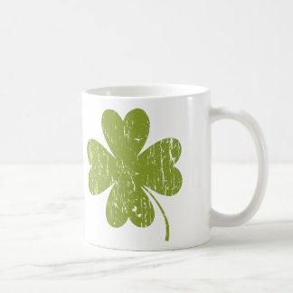 Green Distressed Four-leaf Clover Classic White Coffee Mug