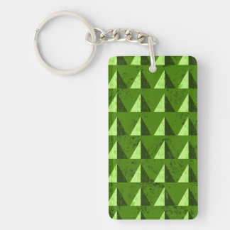 Green Distressed Geometric Pattern Double-Sided Rectangular Acrylic Key Ring