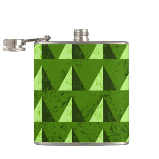 Green Distressed Geometric Pattern Hip Flask