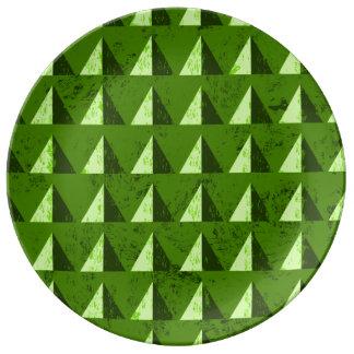 Green Distressed Geometric Pattern Plate