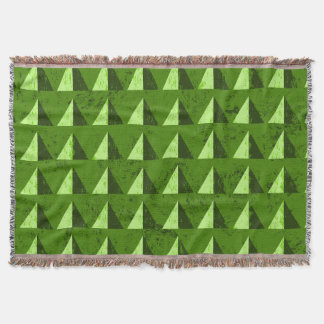 Green Distressed Geometric Pattern Throw Blanket