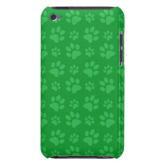 Green dog paw print pattern iPod touch cover