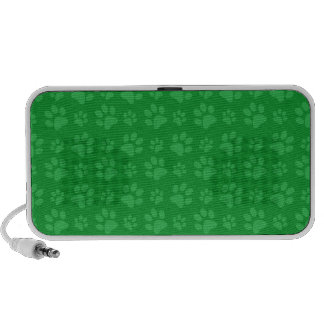 Green dog paw print pattern iPod speakers