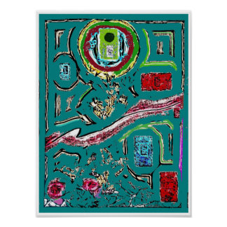 Green Door Abstract Expressionism Poster
