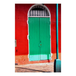 Green door and red wall, New Orleans Poster