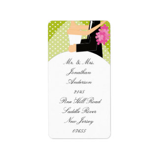 Green Dots Bride & Groom Return Address Label