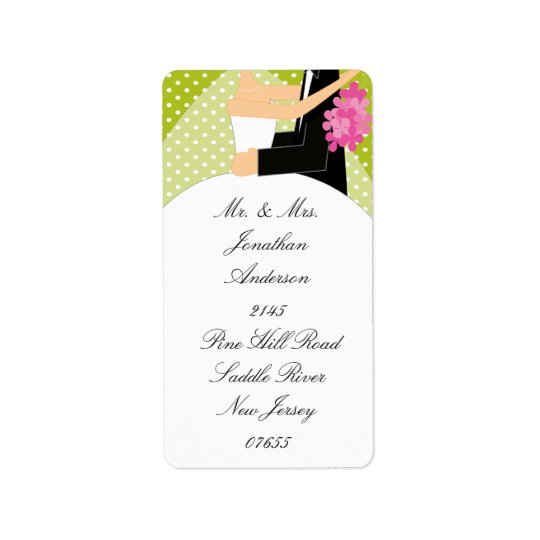 Green Dots Bride & Groom Return Address Label