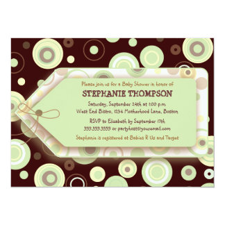 "Green Dots Tag Neutral Baby Shower Invitation 5.5"" X 7.5"" Invitation Card"