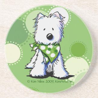 Green Dots Westie Dog Coaster