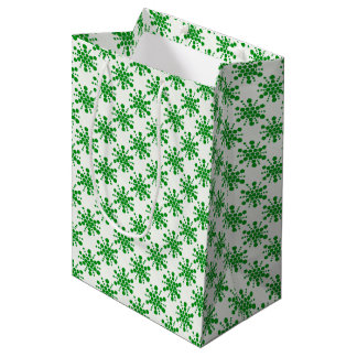 Green dotted stars on white medium gift bag