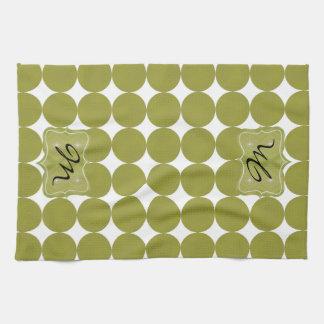 Green Dotty Monogram American MoJo Kitchen Towel