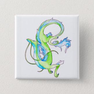 Green Dragon 15 Cm Square Badge
