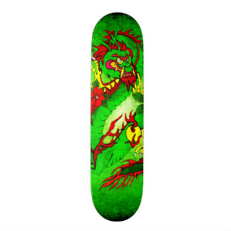 Green Dragon and Red Flowers 21.6 Cm Skateboard Deck