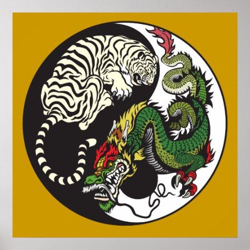 green dragon and white tiger yin yang symbol posters