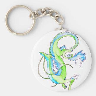 Green Dragon Basic Round Button Key Ring