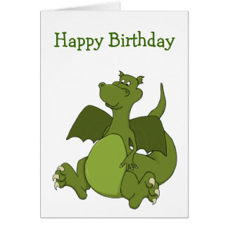 Green Dragon Cartoon Birthday Card