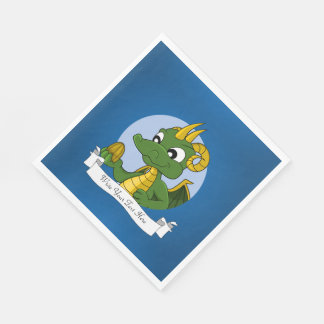 Green dragon cartoon disposable napkins