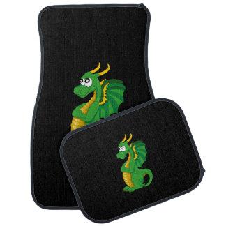 Green dragon cartoon floor mat