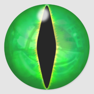 Green Dragon Eye Round Sticker