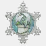 Green Dragon Fantasy Art Snowflake Pewter Christmas Ornament