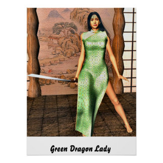 Green Dragon Lady Posters