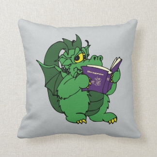 Green Dragon Reading Purple Dragon Book Throw Pillow