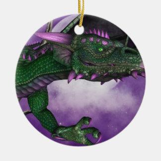 Green Dragon Round Ceramic Decoration
