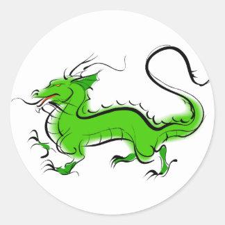 Green Dragon Round Sticker