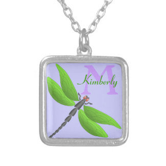 Green Dragonfly,  monogram Silver Plated Necklace