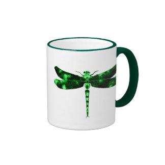 Green Dragonfly Ringer Coffee Mug