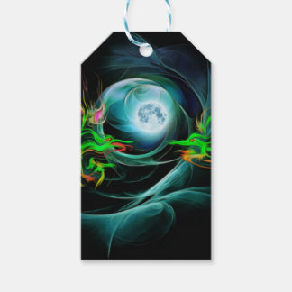 Green dragons play with the Moon Gift Tags