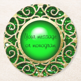 Green droplet/button dot design round paper coaster