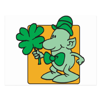 Green Dude With Four Leaf Clover Postcard
