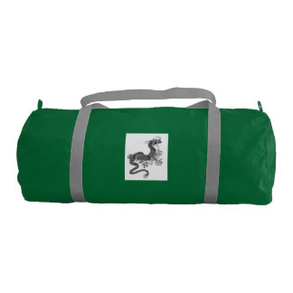 GREEN DUFFLE BAG WITH JAPANESE DRAGON