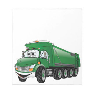 Green Dump Truck 10w Cartoon Notepad