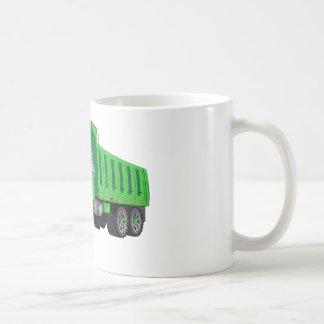 Green Dump Truck Cartoon Basic White Mug