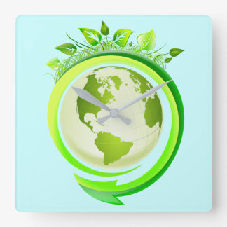 GREEN EARTH (ECO DESIGN) SQUARE WALL CLOCK