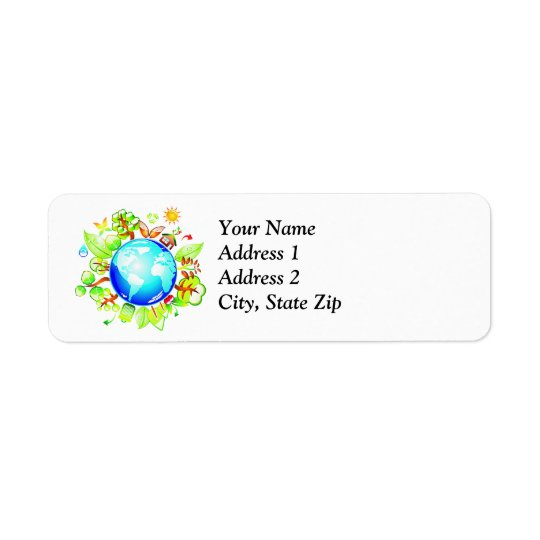 Green Earth Eco Friendly for Earth Day Return Address Label
