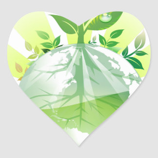 Green Earth Heart Sticker