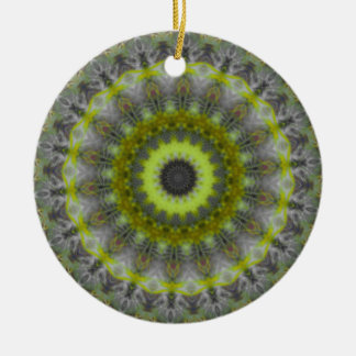 Green Earth Mandala Kaleidoscope pattern Ceramic Ornament