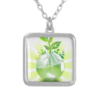 Green Earth Silver Plated Necklace