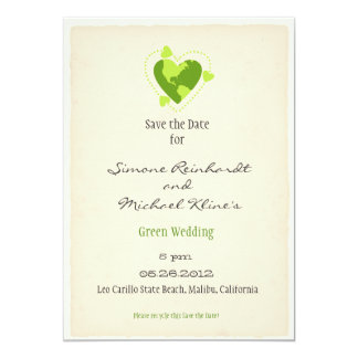 Green Eco Friendly Save the Date 13 Cm X 18 Cm Invitation Card
