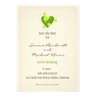 Green Eco Friendly Save the Date Custom Invite